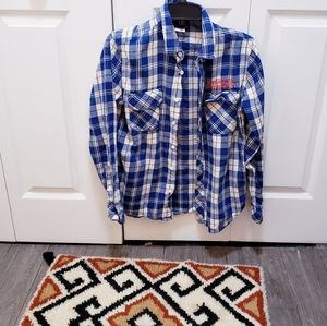 Stranger Things Blue Plaid Button Down Flannel Top